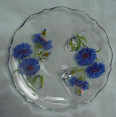 back is a label of Silver City Glass Company. This was a salesman's sample. I also have a square plate and a round plate with these same flowers and labels ...